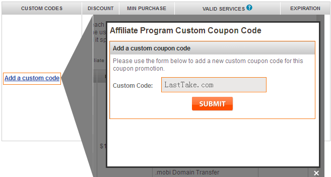 Customize your own Domain Coupons